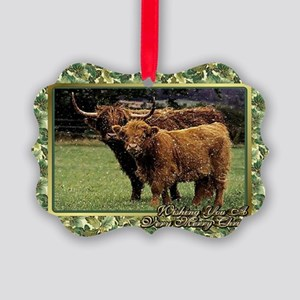 Highland Cow And Calf Christmas C Picture Ornament