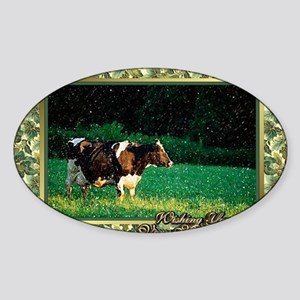 Holstein Cow Christmas Card Sticker (Oval)