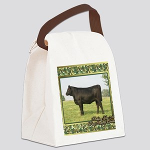 Black Angus Heifer Christmas Card Canvas Lunch Bag