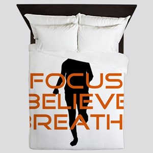 Orange Focus Believe Breathe Queen Duvet