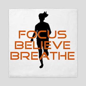 Orange Focus Believe Breathe Queen Duvet