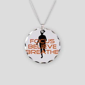 Orange Focus Believe Breathe Necklace Circle Charm
