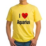 I Love Aquarius (Front) Yellow T-Shirt