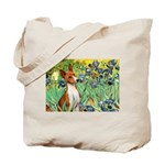 Basenji in Irises Tote Bag