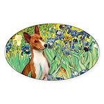 Basenji in Irises Sticker (Oval)