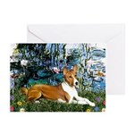 Lilies (1) with a Basenj Greeting Cards (Pk of 10)
