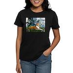 Lilies (1) with a Basenj Women's Dark T-Shirt