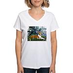 Lilies (1) with a Basenj Women's V-Neck T-Shirt