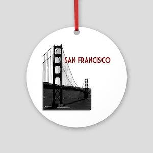 San Francisco Golden Gate Bridge ov Round Ornament