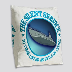 Silent Service Burlap Throw Pillow
