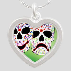 Comitragic DODT Skulls Silver Heart Necklace