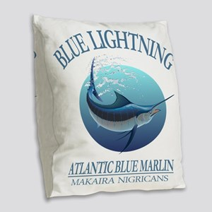 Blue Lightning Burlap Throw Pillow