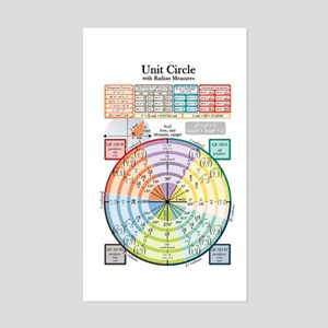Unit Circle (with Radians) Sticker (Rectangle)