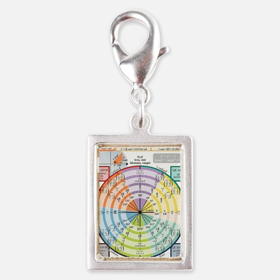 Unit Circle (with Radians) Silver Portrait Charm