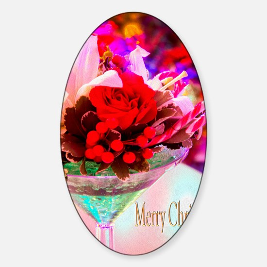 Merry Christmas With Rose And Dayli Sticker (Oval)