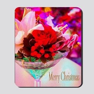 Merry Christmas With Rose And Daylily Mousepad