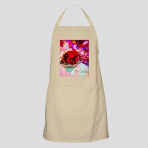 Merry Christmas With Rose And Daylily Apron