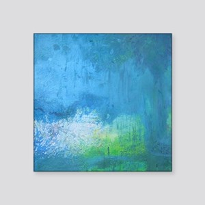 "Blue Green Abstract Landsca Square Sticker 3"" x 3"""