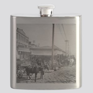 French Market in New Orleans Flask