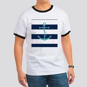 Teal Anchor on Navy Blue Stripes Ringer T