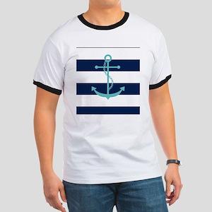 Teal Anchor on Navy Blue Stripes Ringer T