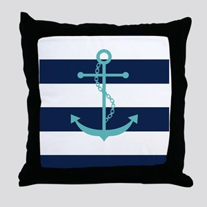Teal Anchor on Navy Blue Stripes Throw Pillow