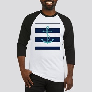Teal Anchor on Navy Blue Stripes Baseball Jersey