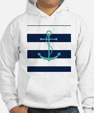 Teal Anchor on Navy Blue Stripes Jumper Hoody