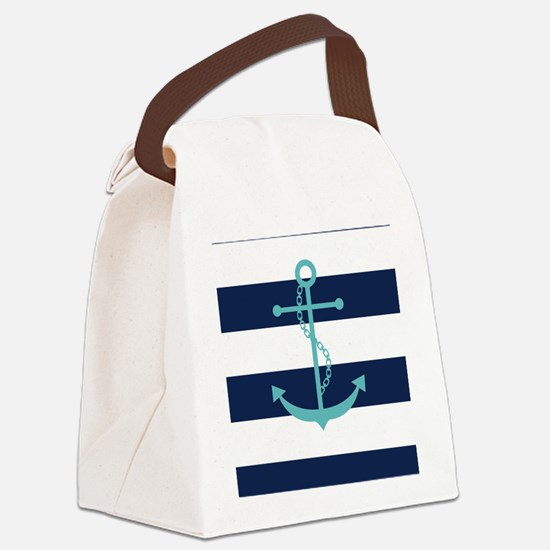 Teal Anchor on Navy Blue Stripes Canvas Lunch Bag