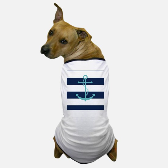 Teal Anchor on Navy Blue Stripes Dog T-Shirt