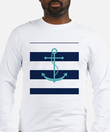Teal Anchor on Navy Blue Strip Long Sleeve T-Shirt