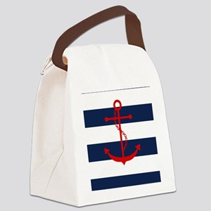 Red Anchor on Blue Stripes Canvas Lunch Bag