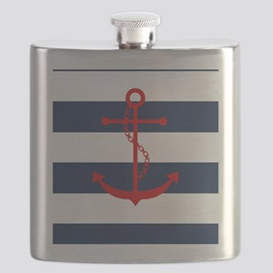Red Anchor on Blue Stripes Flask