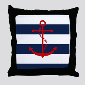 Red Anchor on Blue Stripes Throw Pillow