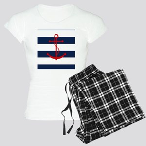 Red Anchor on Blue Stripes Women's Light Pajamas