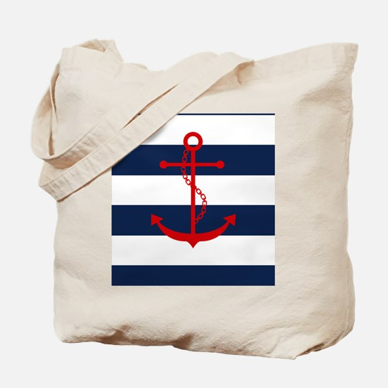 Red Anchor on Blue Stripes Tote Bag