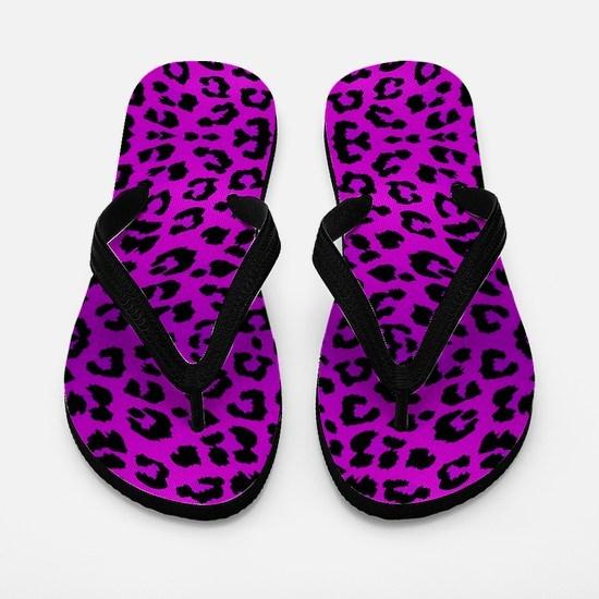 Purple Cheetah Animal Print Flip Flops