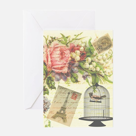 pretty vintage victorian birdcage an Greeting Card