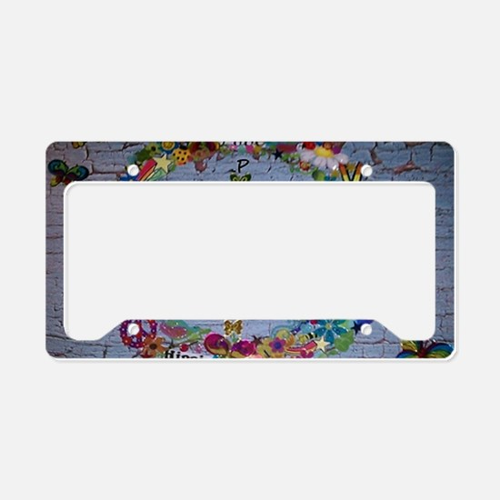 Girly Peace Sign License Plate Holder