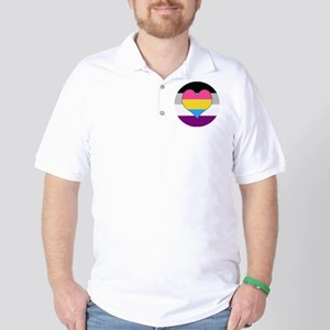 Panromantic Asexual Heart Golf Shirt