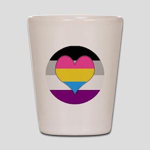 Panromantic Asexual Heart Shot Glass