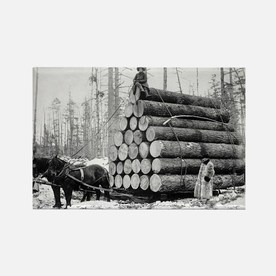 Hauling a Load of Logs Rectangle Magnet