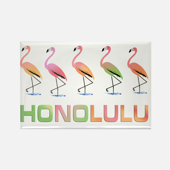 March of the Pastel Tropical Flam Rectangle Magnet