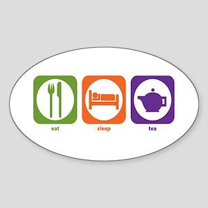 Eat Sleep Tea Oval Sticker