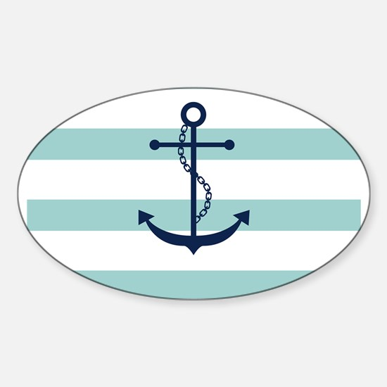 Blue Anchor on Mint Stripes Sticker (Oval)