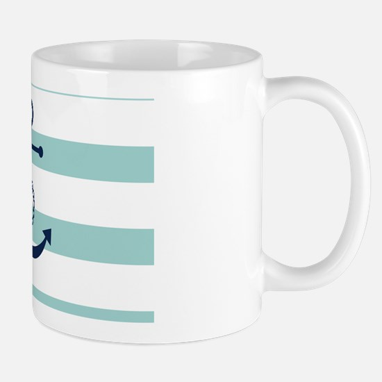 Blue Anchor on Mint Stripes Mug