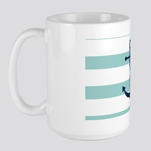 Blue Anchor on Mint Stripes Large Mug