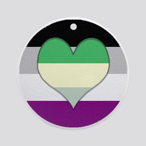 Aromantic Asexual Heart #2 Round Ornament