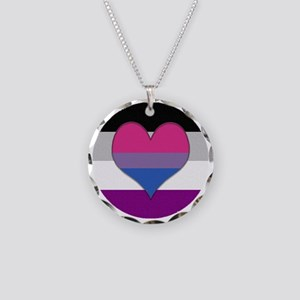 Biromantic Asexual Heart Necklace Circle Charm