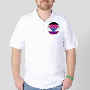 Biromantic Asexual Heart Golf Shirt